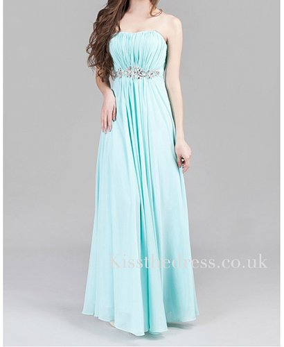 Ice Blue Chiffon Strapless Empire Long Evening Dress XZ006
