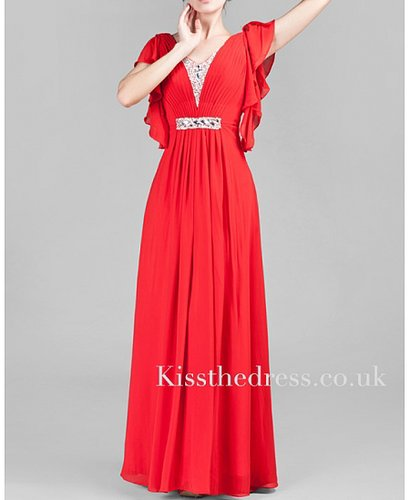 Red Chiffon V-neck Short Sleeves Long Evening Dress XZ014