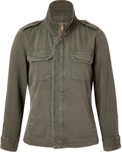 Current/Elliott Olive Striped Cotton Jacket
