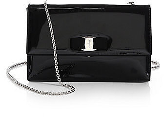 Salvatore Ferragamo Vara Ginny Piuma Patent Leather Bow Bag