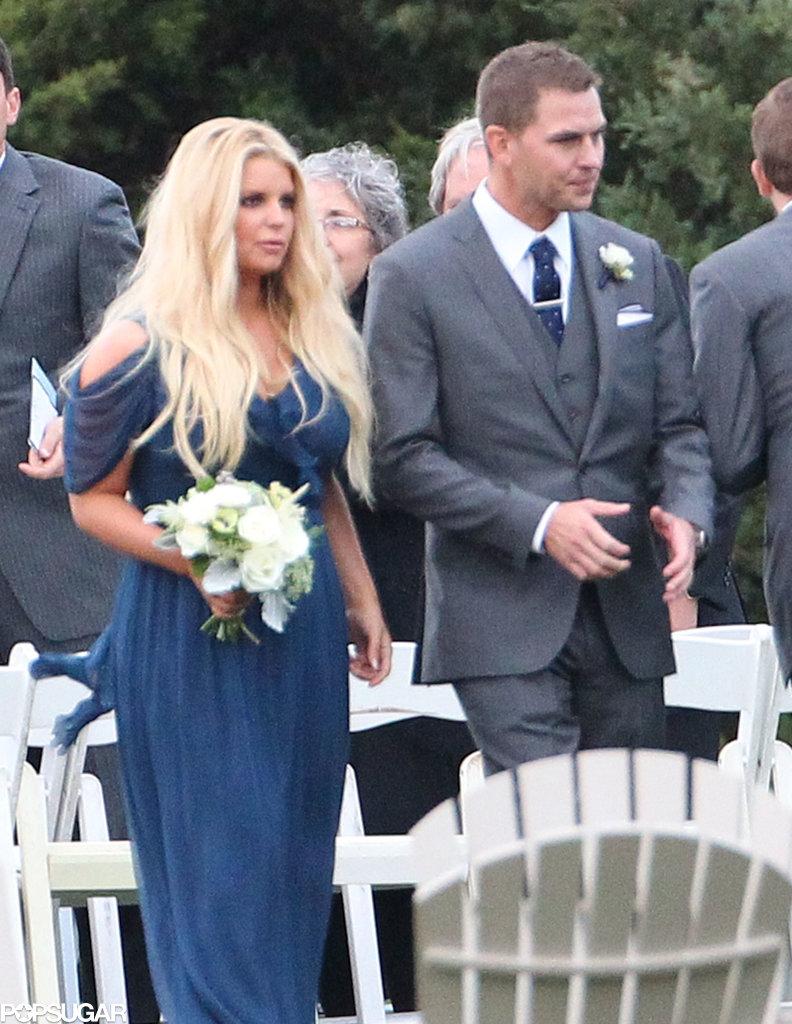 Jessica Simpson acted as a bridesmaid for her friend Lauren Auslander's wedding in Rhode Island.