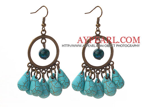 Vintage Style Teardrop Shape Turquoise and Phoenix Stone Earrings