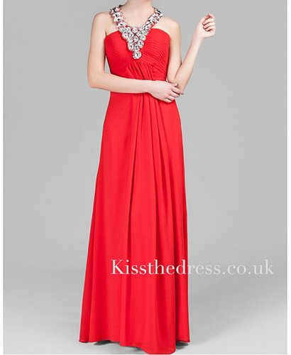 Red Chiffon Halter Beaded Empire Long Evening Dress XZ037