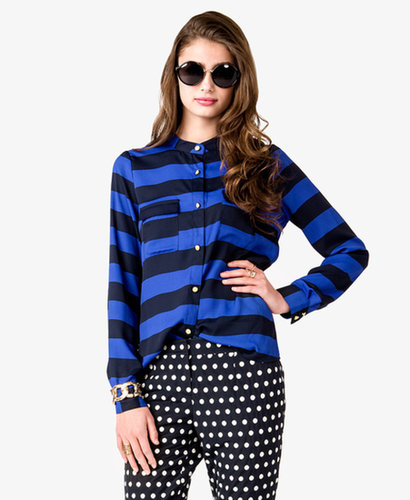 FOREVER 21 Essential Striped Georgette Shirt