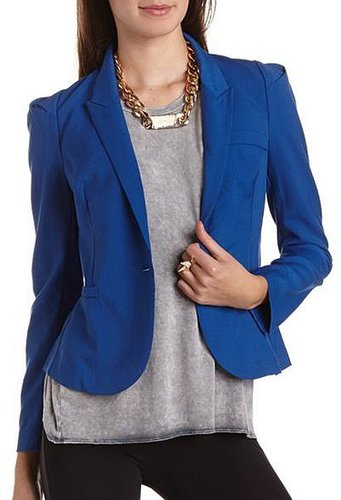 Solid Single Button Blazer