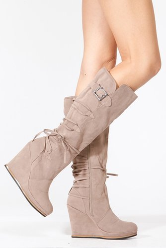 Bamboo Taupe Velvet Wedge Boots