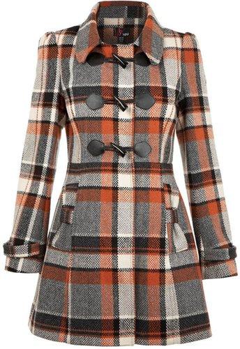 Yumi Check duffle coat
