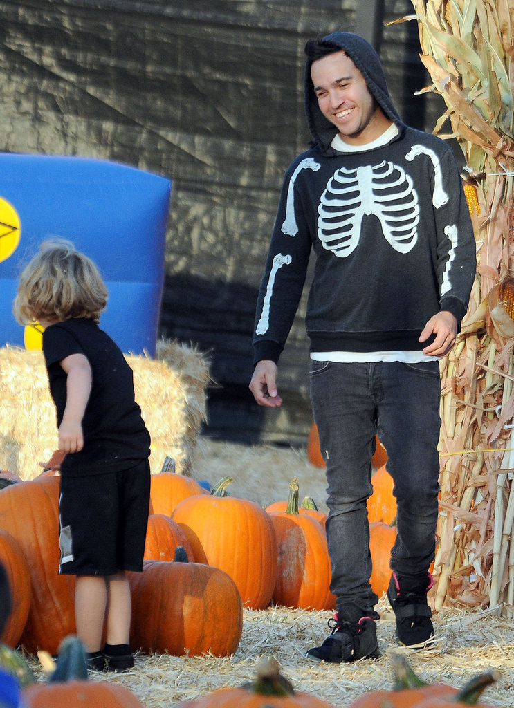 In LA, Pete Wentz helped his son, Bronx, pick out a pumpkin.