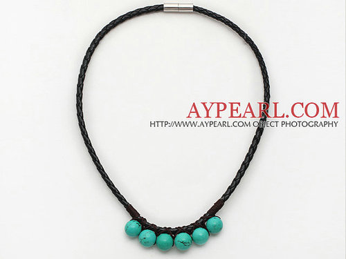 Simple Style Xinjiang Turquoise Leather Necklace with Magnetic Clasp