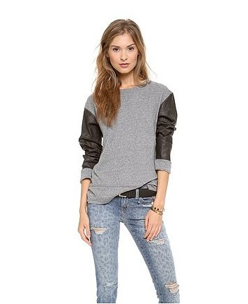 Leather accents are hot for Fall. We're big fans of how they've dressed up the simple sweatshirt in this Current/Elliott version ($104, originally $138).