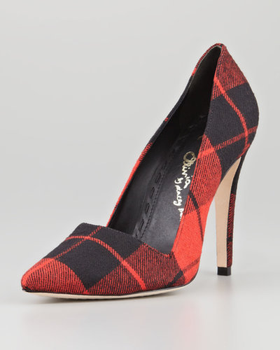 Alice + Olivia Dina Plaid Point-Toe Pump, Red Multi (Stylist Pick!)