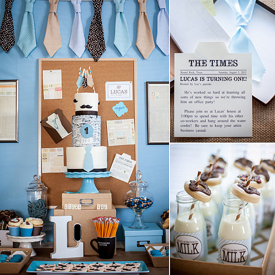 Office First Birthday Ideas With Mustaches and Ties  POPSUGAR Moms