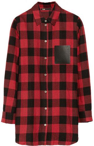 Maje Degriffe oversized plaid cotton shirt