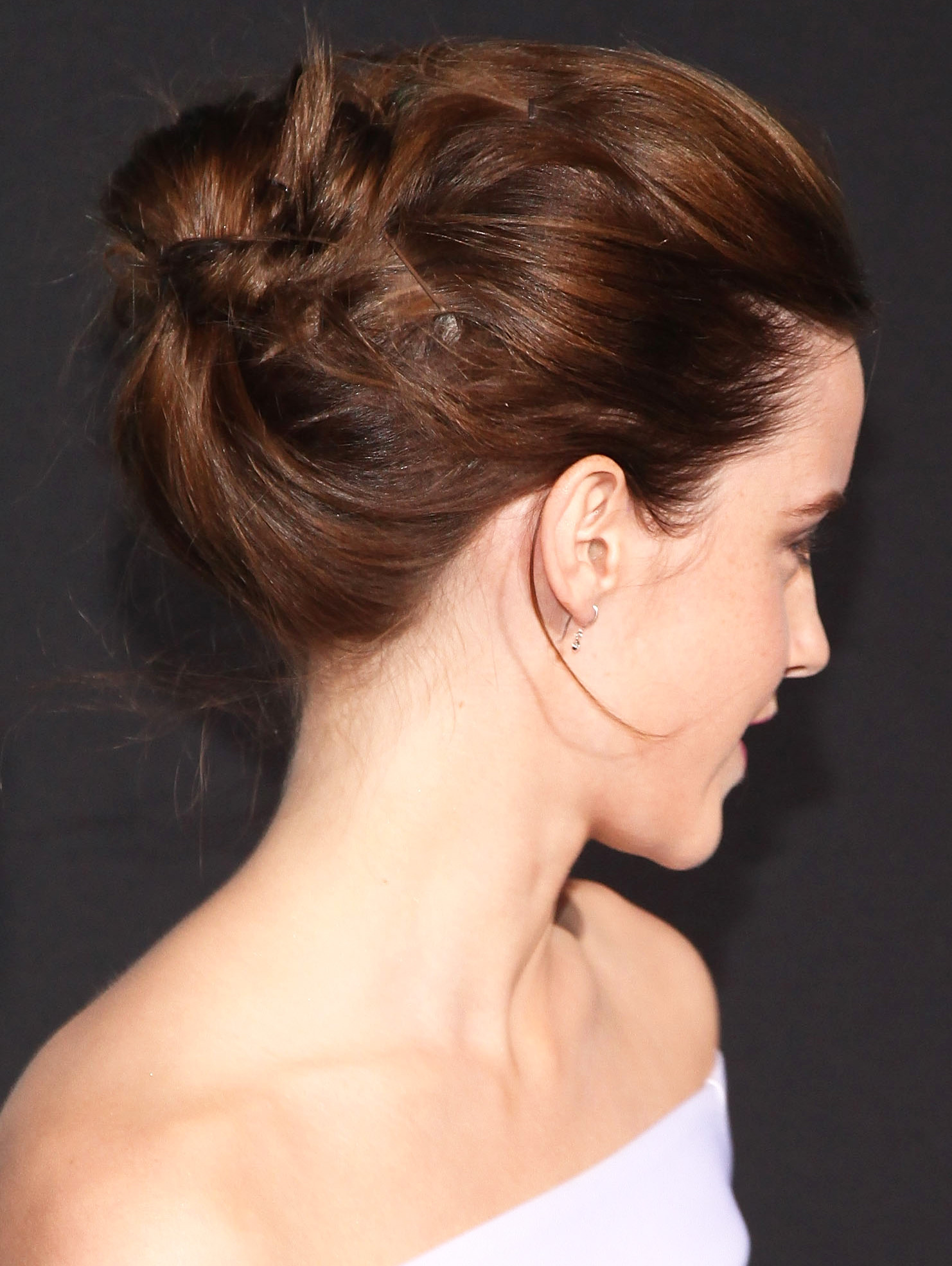 From the back, you can see that Emma's hair was twisted and pinned in lots of directions for a more interesting style.