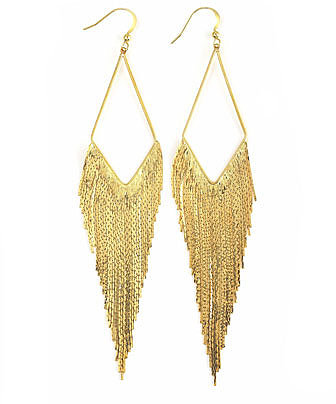 Panacea Golden Long Fringe Hoop Earrings (Stylist Pick!)