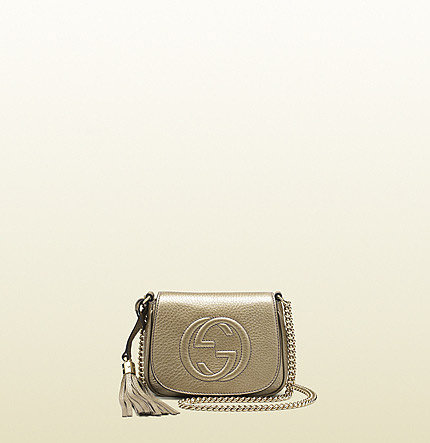 Soho Metallic Leather Chain Shoulder Bag