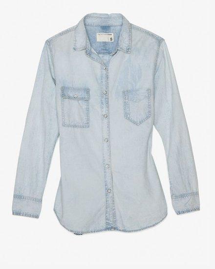 Current/elliott Perfect Basic Denim Shirt: Pier Wash