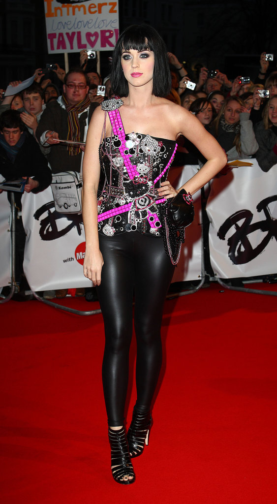 At first glance the punk-rock creation Katy donned for the 2009 Brit Awards seemed a bit harsh for the pop princess, but upon close inspection we spotted her signature sweetness: diamond-encrusted Hello Kitty add-ons.