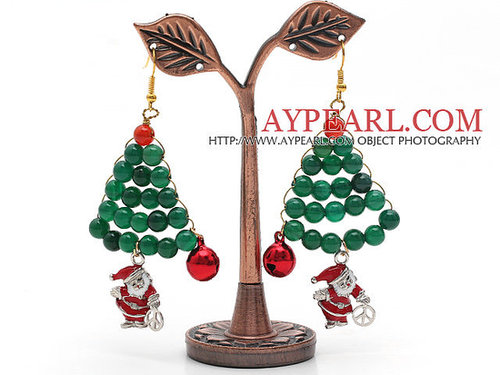 2013 Christmas Design Green Agate and Carnelian and Santa Claus Earrings