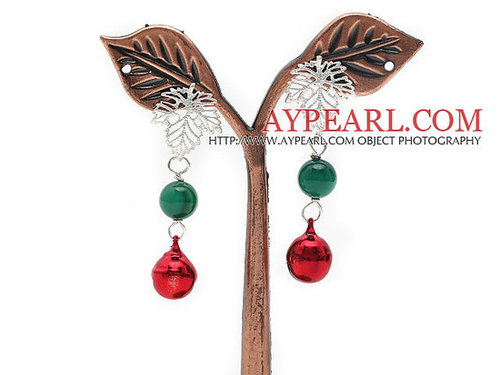 2013 Christmas Design Greeen Agate and Bell Studs Earrings