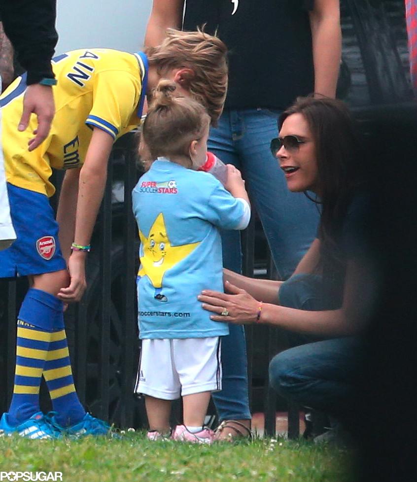 Harper Beckham went over to her mom, Victoria Beckham, after celebrating her soccer goal.