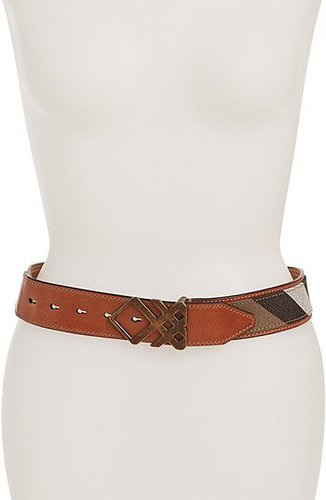 Burberry Check Leather Trim Belt