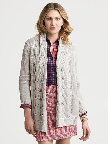 Chunky Cable-Knit Open Cardigan