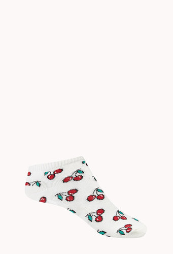 FOREVER 21 Lucky Cherry Ankle Socks
