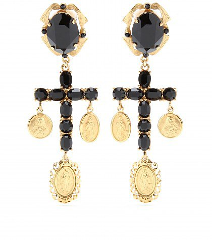 Dolce & Gabbana - CRYSTAL CROSS EARRINGS