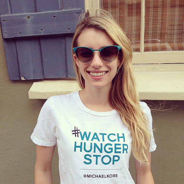 Emma Roberts supported designer Michael Kors's Watch Hunger Stop campaign. Source: Instagram user emmarober
