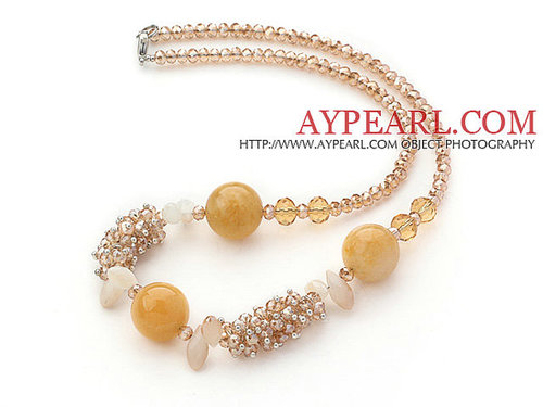 Assorted Light Yellow Series Citrine and Yellow Jade Necklace with Lobster Clasp