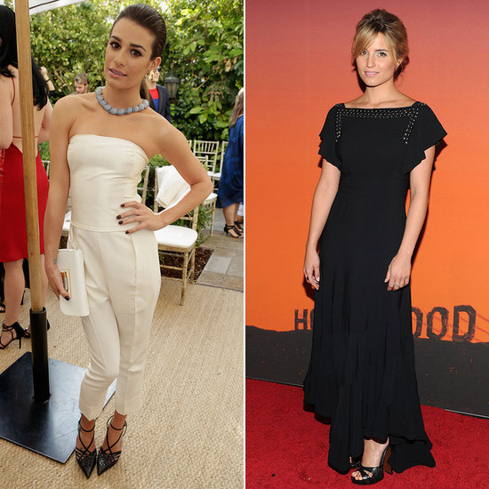 Lea Michele & Dianna Agron in black and white designer looks