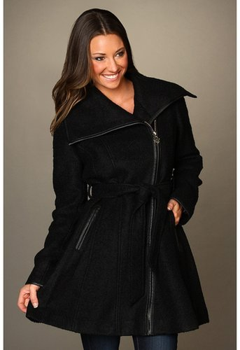 Jessica Simpson - Boucle Asymmetrical Coat w/ Faux Leather Binding (Black) - Apparel