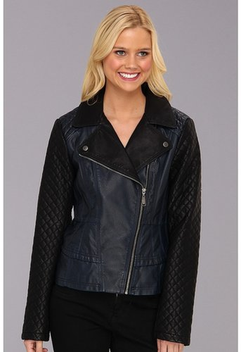 Jessica Simpson - Faux Leather 2-Tone Moto Jacket (Navy/Black) - Apparel