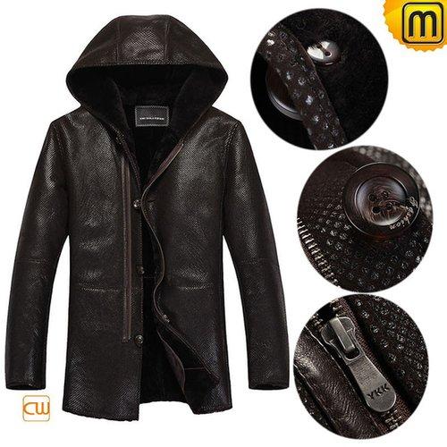 Hooded Shearling Coat Mens CW877193