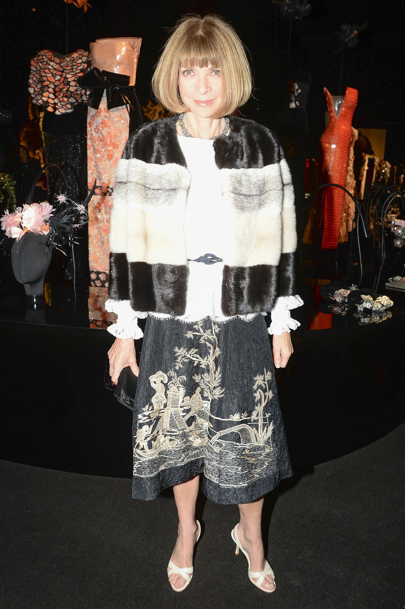 Anna Wintour stepped out for Armani One Night Only in a mixed-material topper.
