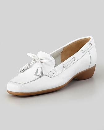 Sesto Meucci Echo Rubber-Heel Tassel Loafer, White
