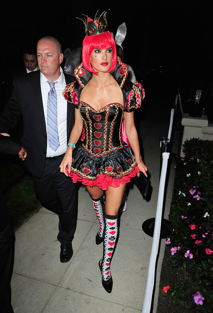 Alessandra Ambrosio went to the Casamigos Halloween Party as a sexed-up Queen of Hearts.