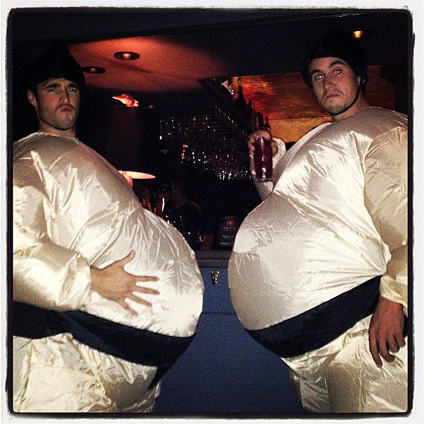 Josh Bowman rocked a sumo-wrestler suit for Halloween. Source: Instagram user marcmalkin