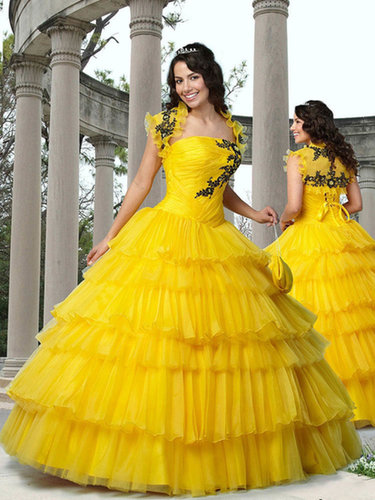 Ball Gown Strapless Organza Floor-length Tiered Quinceanera Dresses at sweetquinceaneradress.com