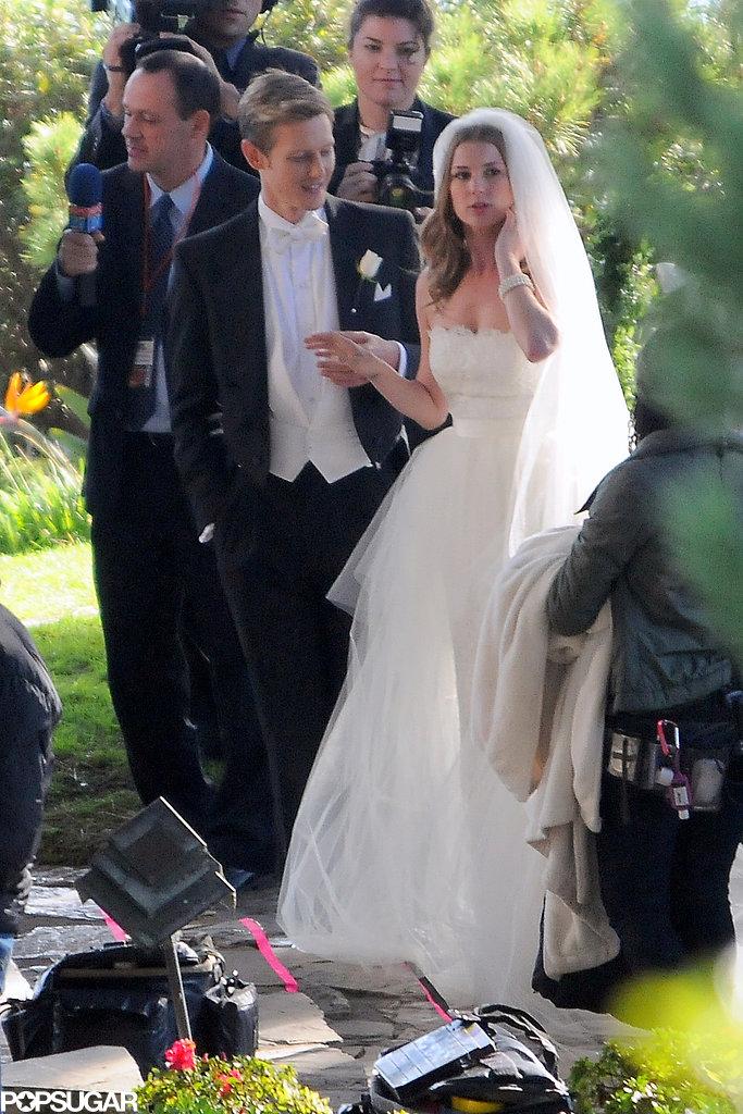 Gabriel Mann and Emily VanCamp filmed a wedding scene.