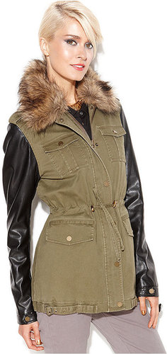 Bar III Coat, Faux-Fur-Collar Mixed-Media