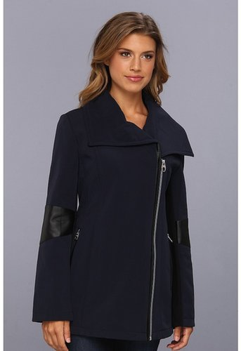 Calvin Klein - Asymmetrical Wing Collar Pant Coat w/ PU Arm Detail (Navy) - Apparel