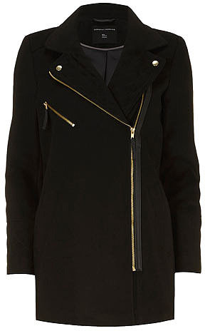 Black gold zip biker coat