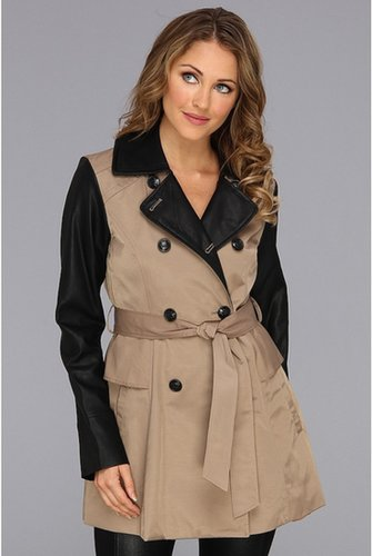 Jessica Simpson - Peplum Trench Coat w/PU Sleeves (Smoke) - Apparel