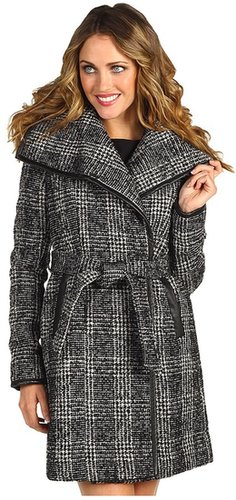 Vince Camuto - Plaid Asymmetical Wrap Coat (Black/White) - Apparel