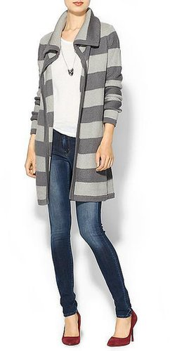 Hive & Honey Textured Stripe Sweater Coat