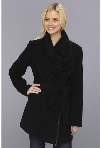 Calvin Klein - Asymmetrical Drape Coat (Black) - Apparel