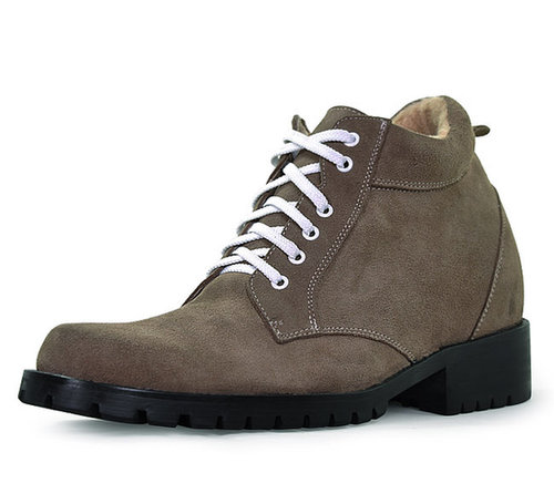 Khaki men height enhancing boots that make you taller 9cm / 3.54inch