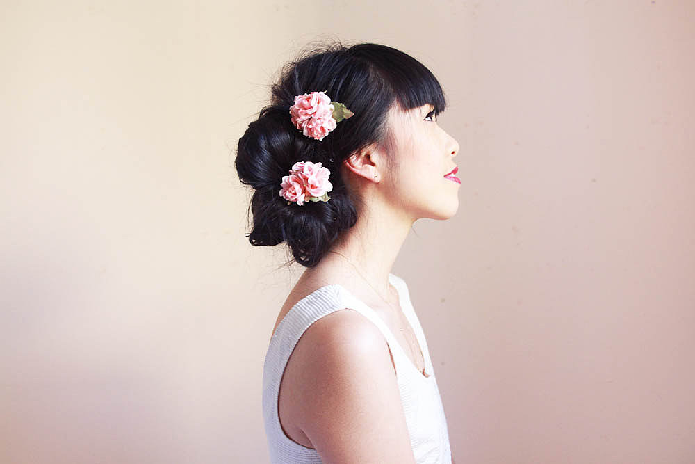 This duo of pin rose hairpins ($18) will add feminine whimsy to any bridal look.